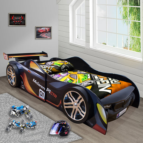 0.2 2019 McLaren Black for Kids Racing Racer Night Car Bed Single Size