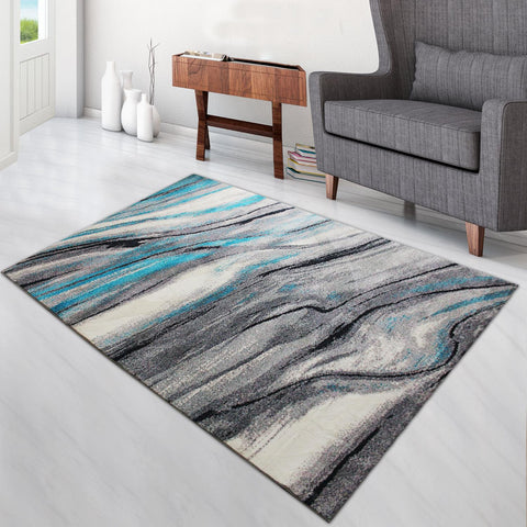 Super Soft Thin Thread Floor Area Modern Abstract Rug Carpet Beige Gray Blue