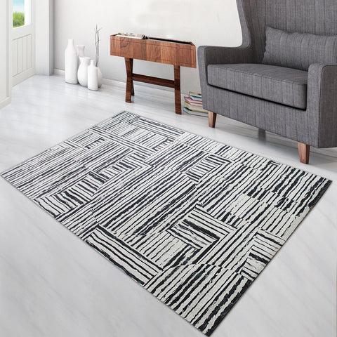 Super Soft Thin Thread Floor Area Modern Abstract Rug Carpet Beige Black