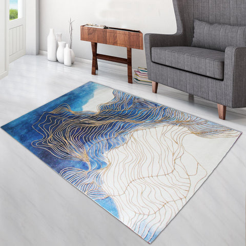 Super Soft Thin Thread Floor Area Modern Abstract Rug Carpet Beige Blue Gold