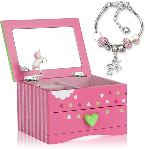 Amitié Lane Unicorn Jewellery Box For Girls PLUS Augmented Reality Experience (STEM Toy) - Unicorn Music Box With Pullout Drawer and Unicorn Charm Bracelet