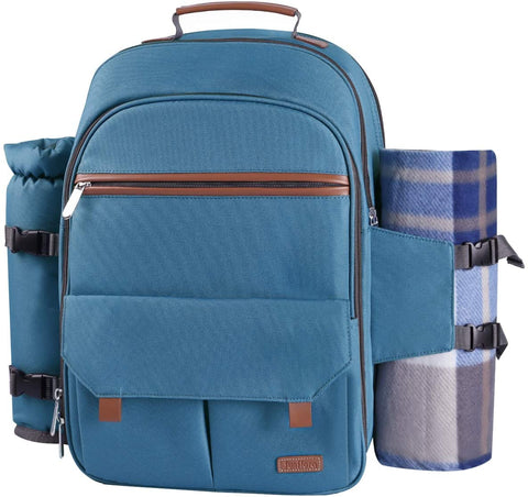 Sunflora Picnic Backpack for 4 Person Set Pack with Insulated Waterproof Pouch for Family Outdoor Camping(Light Blue)