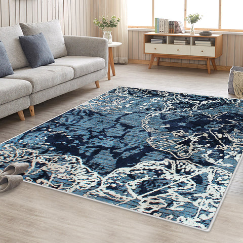 Sea Blue Art Vita Vintage-Style Floor Area Traditional Soft Rug Carpet