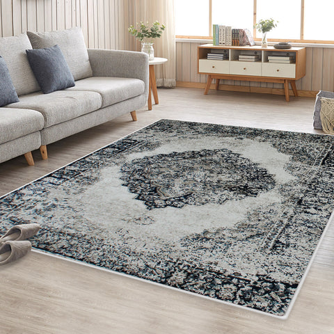 Blue Cream Namibia Vintage-Style Floor Area Traditional Soft Rug Carpet