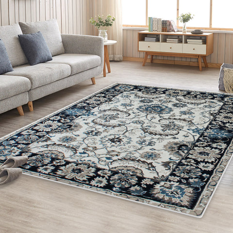 Blue Cream Evanna Vintage-Style Floor Area Traditional Soft Rug Carpet
