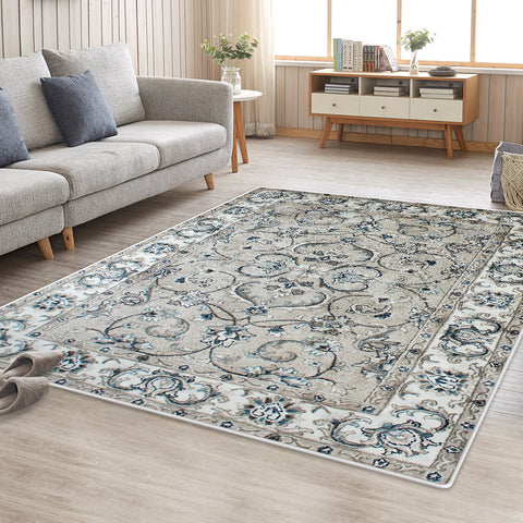 Grey Cream Persian Style Floor Area Traditional Soft Rug Carpet