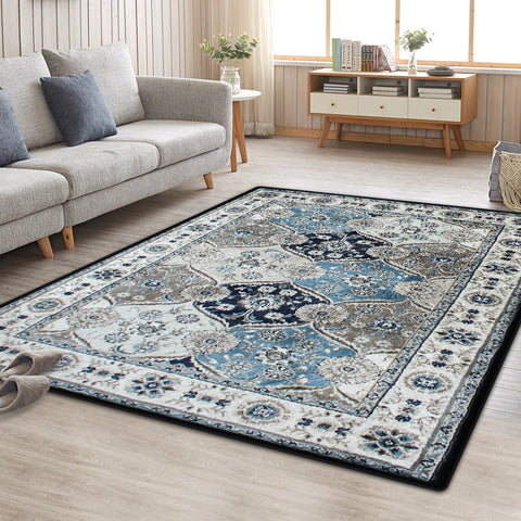 Blue Grey Evanna Vintage-Style Floor Area Traditional Soft Rug Carpet