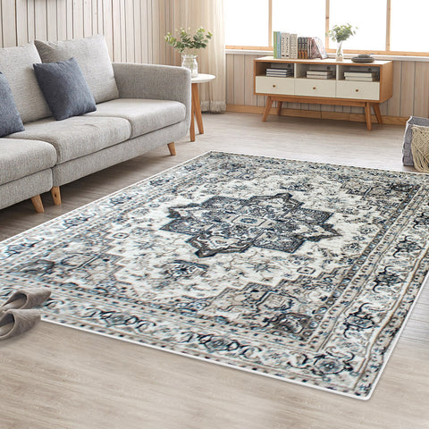 Cream Blue Renna Vintage-Style Floor Area Traditional Soft Rug Carpet