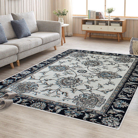 Cream Blue Renna Vintage-Style #2 Floor Area Traditional Soft Rug Carpet