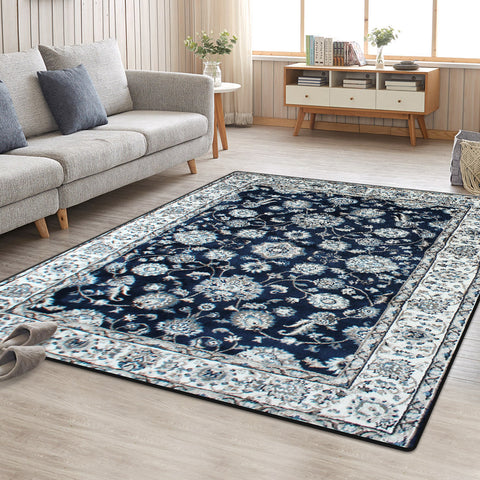 Dark Blue Vita Vintage-Style Floor Area Traditional Soft Rug Carpet