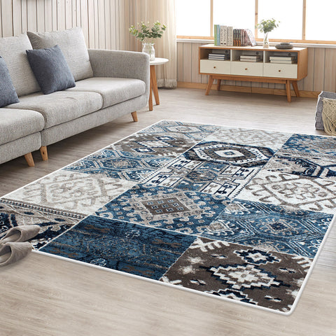 Blue Cream Multi Vita Vintage-Style Floor Area Traditional Soft Rug Carpet