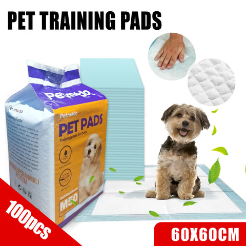 100pcs Puppy Pet Dog Cat Training Pads Mat Absorbent Indoor Toilet 60x60cm