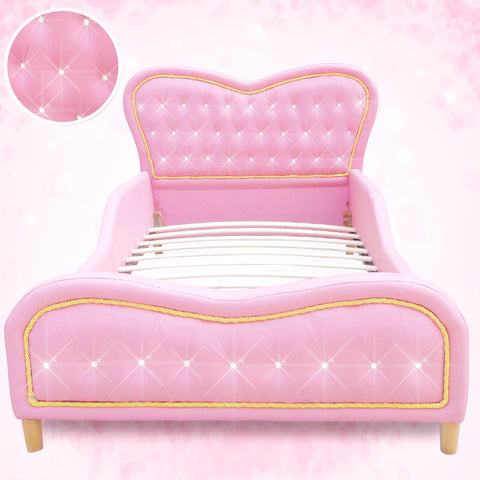 Kids Pink Heart PU Leather Single Upholstered Bed