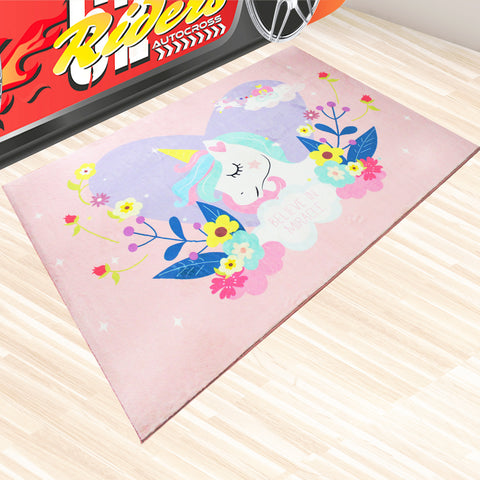 Oliandola 120x180cm Unicorn World Rug Matching Kids Racing Car Bed Model #7710