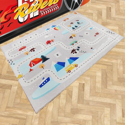 Oliandola 120x180cm Road Trip Adventure Rug Matching Kids Racing Car Bed