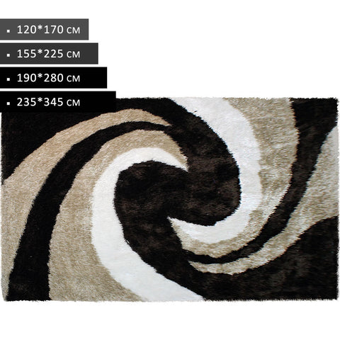 Brown Beige White Modern Shaggy Rug