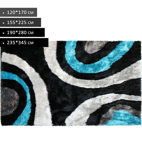 Beige Black Blue - Modern Shag Non Shed Rugs
