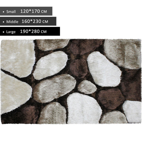 3D Shag Rug Beige Brown
