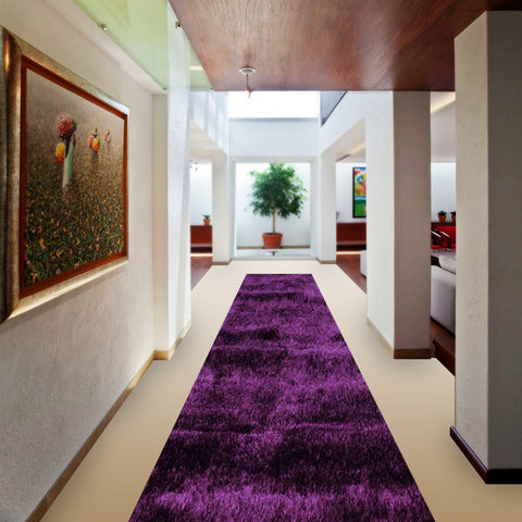 Stylish Super Soft Hallway Runner Shaggy Rug in Purple