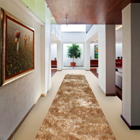 Stylish Super Soft Hallway Runner Shaggy Rug in Champagne