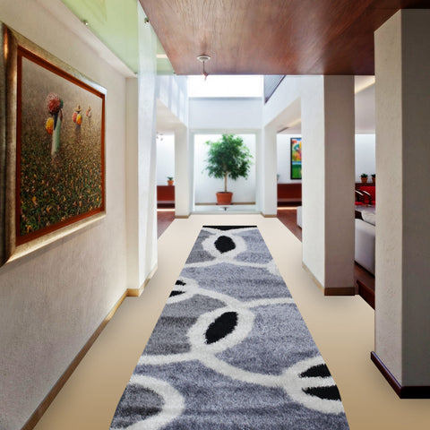 Stylish Super Soft Hallway Runner Shaggy Rug in Circled Pattern