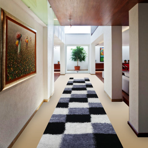 Stylish Super Soft Hallway Runner Shaggy Rug in Cubed Pattern