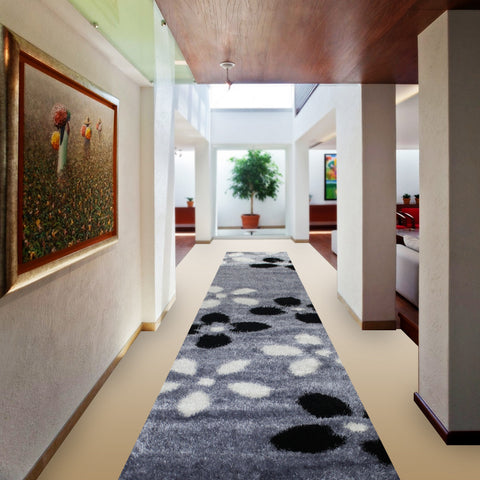 Stylish Super Soft Hallway Runner Shaggy Rug in Flower Pattern