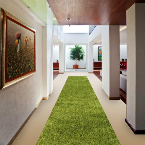 Stylish Super Soft Hallway Runner Shaggy Rug in Light Green