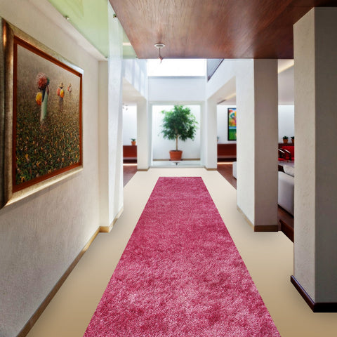 Stylish Super Soft Hallway Runner Shaggy Rug in Pink