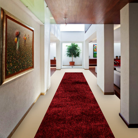 Stylish Super Soft Hallway Runner Shaggy Rug in Red & Black