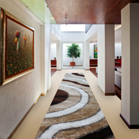 Stylish Super Soft Hallway Runner Shaggy Rug in Sun Pattern