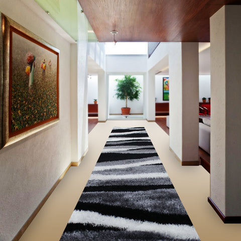 Stylish Super Soft Hallway Runner Shaggy Rug in Wave Pattern