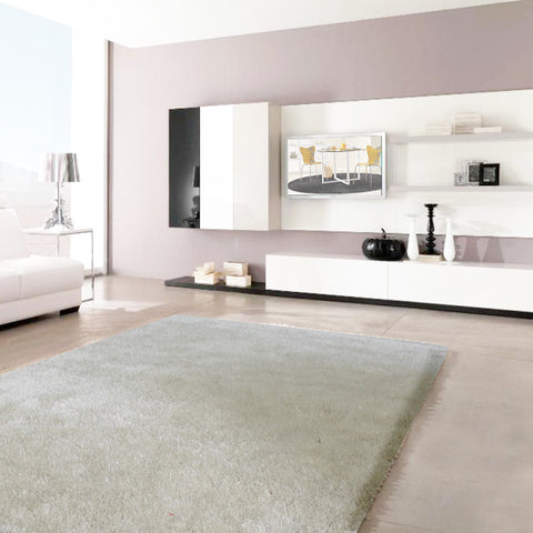 Modern Rectangle Stylish Shaggy Rug in White