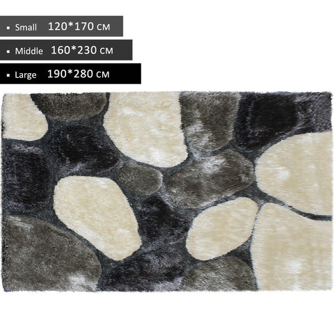 3D Shag Rug in Beige Grey Dark Grey