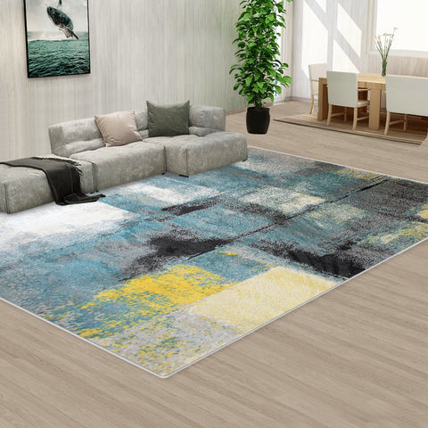 Large Floor Area Abstract Rug Modern Carpet Bosco Blue Dotted Grey