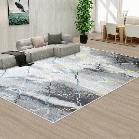 Black Grey Color Pattern Floor Area Abstract Rug Modern Large Carpet
