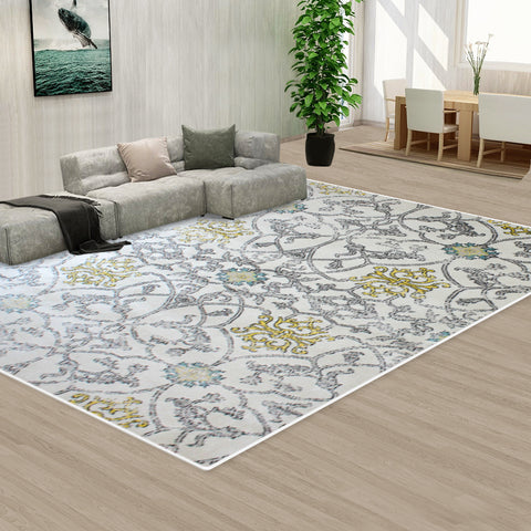 Grey Creamy Color Pattern Floor Area Abstract Rug Modern Large Carpet