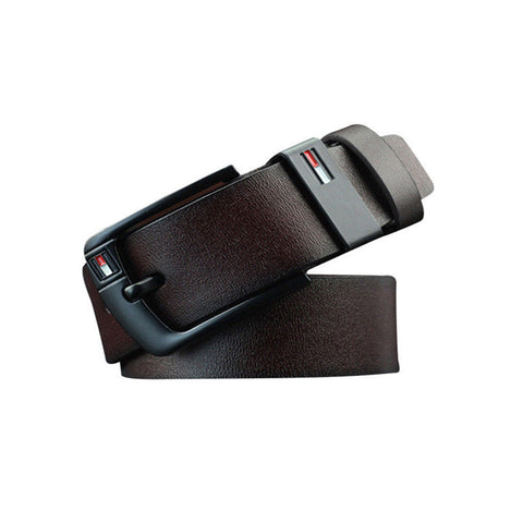 1x Coffee Mens PU Leather Pin Buckle Business Belt