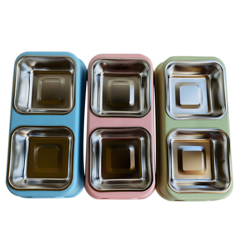 Double Stainless Steel  Pet Bowls Dog Cat Food Water Feeder