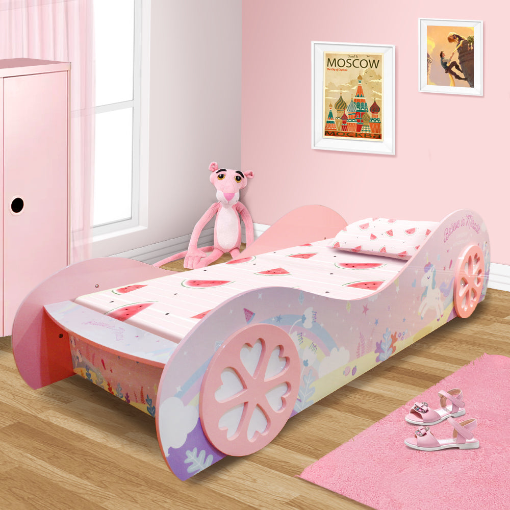 1 0 Unicorn Kids Children Girls Car Bed With Wheel In Pink High Gloss Finish