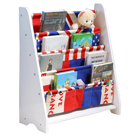 Flag Red Blue Kids Wooden Canvas Bookcase