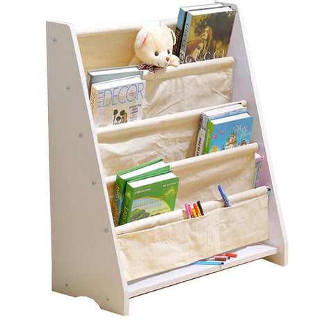 Warm White Kids Wooden Canvas Bookcase