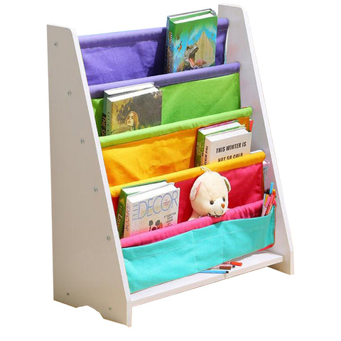 Rainbow Design Kids Wooden Canvas Bookcase