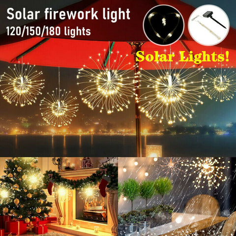 Solar Fireworks Light String LED Starburst Fairy Christmas Decoration Lights