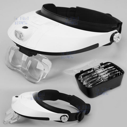 Headband 2 LED Lamp Light Jeweler Head Mounted Magnifier Magnifying Glass Loupe