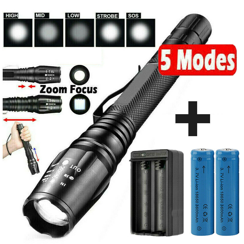 Ultra Bright 990000LM LED Flashlight Tactical Police Rechargeable Torch Lamp T6