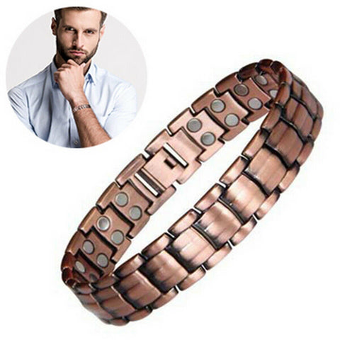 Men Red Copper Double Strong Magnetic Therapy Bracelet for Arthritis Pain Relief