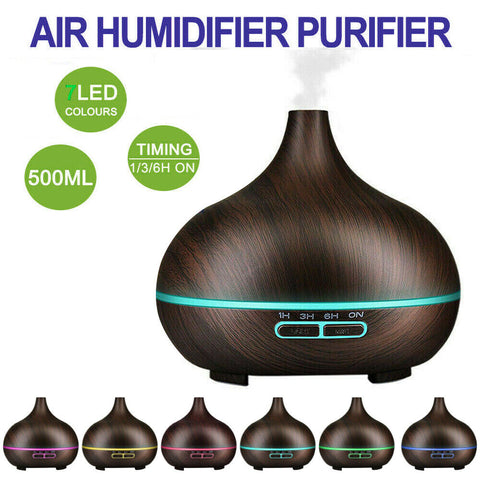 Air Humidifier Purifier Essential Oil Diffuser 550ml Aroma Aromatherapy Lamp LED