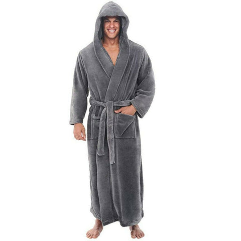 Men's Bath Robe Coat Hooded Bathrobe Cloak Winter Warm fleece Dressing Gown AU Long Gray