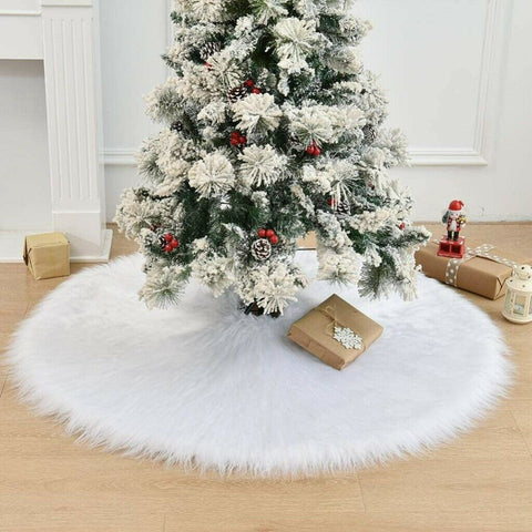 Christmas Tree Skirt 90cm Snow Base Floor Mats Cover Long Plush Home Decorations